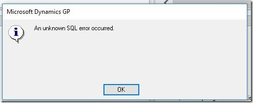 An unknown SQL error occurred.