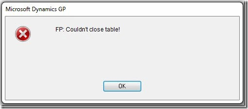 FP: Couldn't close table!