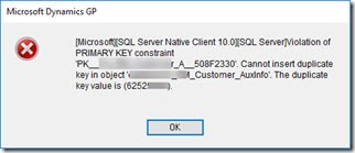 Cannot insert duplicate key in object - customer combiner Dynamics GP