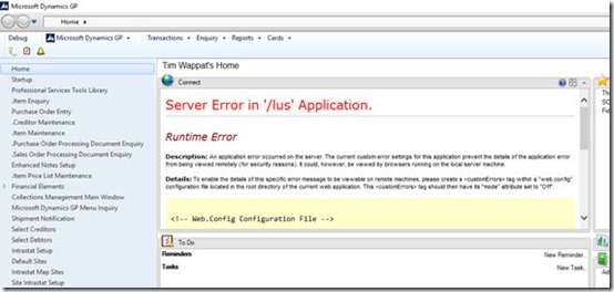 Server Error in /lus Application Dynamics GP homepage