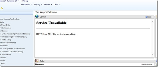 Dynamics GP Service Unavailable HTTP 503 error