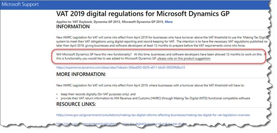 VAT 2019 digital regulations for Microsoft Dynamics GP