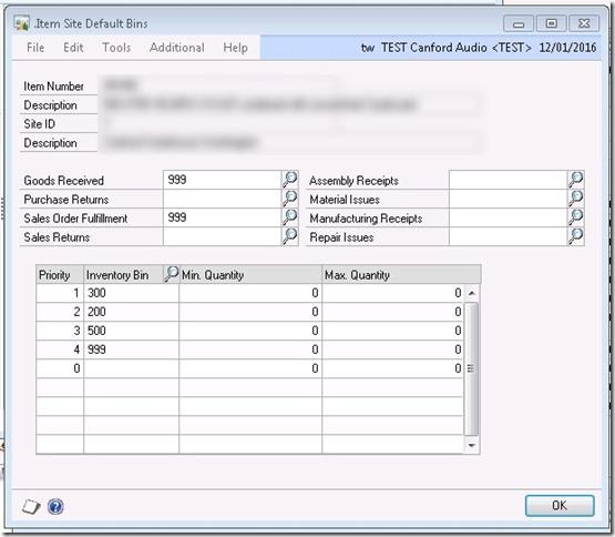 Item Site Default Bins Window Dynamics GP