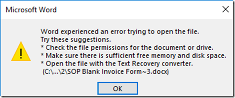 Word experienced an error trying to open the file. Try these suggestions Check the file permissions for the doucment or drve