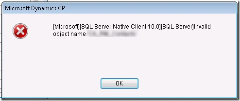 Microsoft Dynamics GP Invalid object name