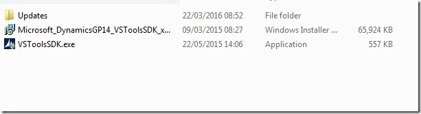 Installer for Visual Studio Tools folder for GP 2015R2